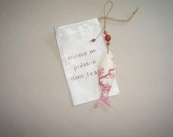 little fish hanging, fabric gift bag