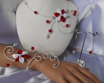 Juliet 3 adornment pieces with Swarovski pearls and red and white satin flower