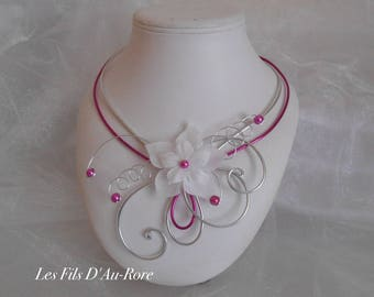 CAMILIA in fuchsia & silver bridal necklace