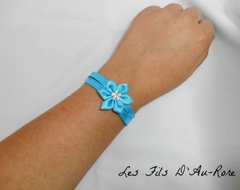 Satin with satin turquoise flower bracelet