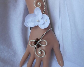 Bridal bracelet or witness with white Orchid