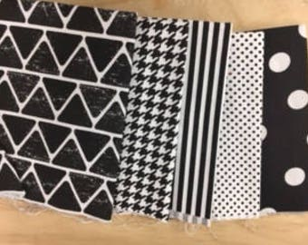 set of 5 coupons pachwork black and white fabric
