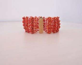 """Woven bracelet """"Scales"""" red, copper, gold"""