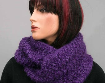 Hand knitted purple Snood, mohair and wool