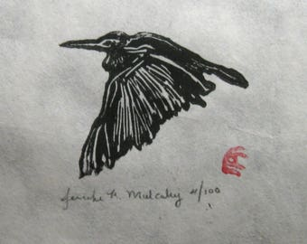 Egret Heron Flying Bird Woodcut Linocut Block Print Cream Ivory Natural Paper