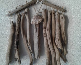 Large driftwood and shell Mobile