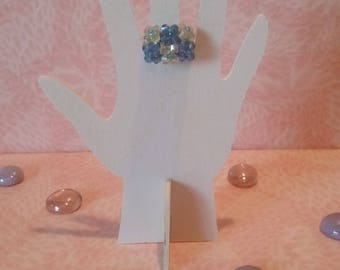 Beads - yellow and blue calcite ring