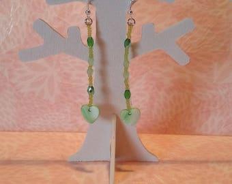 Earrings - Green Pearl Heart