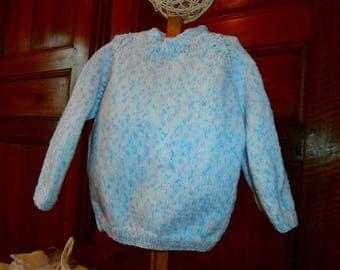 Baby 12 months, blue, raglan sleeve sweater Heather