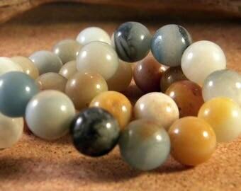 5 beads natural Amazonite - 10.5 mm - multicolored - gem stone PP148