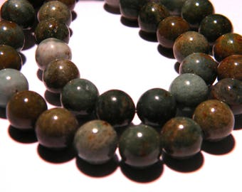 10 Bloodstone Jasper-8 mm - Green bright bead - gem stone PG255