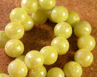 20 yellow glass beads AB glitter - 10 mm - pale - PE114