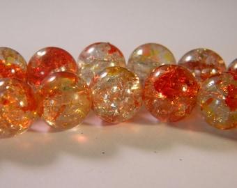 10 2 tones-12 mm - PE227 orange Crackle glass beads
