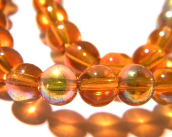 20 beads-glass - 8 mm metal and glass-amber - effect AB G98 7 electroplated glass bead