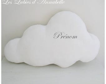 Romantic personalized MACHINE embroidery white cloud pillow