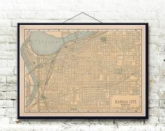 Kansas City Missouri 1893 Map Fine Art Print
