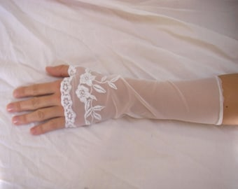 White lace fingerless gloves, long, perfect wedding