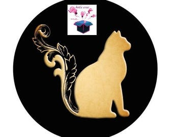 1 cabochon clear size 10 mm cat design theme