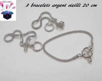 3 bracelets antique silver round mesh size 20 cm