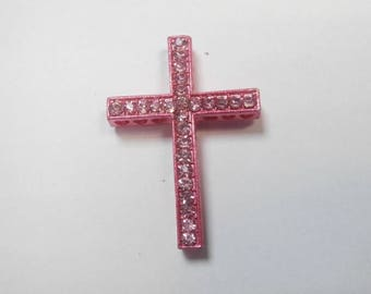 1 pink connector with pink rhinestones size 3 x 2 cm