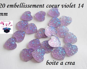Purple sequin heart 20 embellishments a total of 14 mm