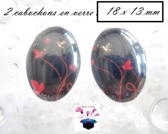 2 glass cabochons 18mm x 13mm red and black theme
