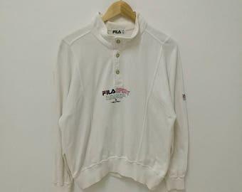 Vintage FILA Sweatshirt White Spellout Shirt Embroidered Fila Vintage Button Up Pullover Jumper Medium