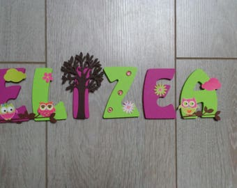 Kids name letter wooden 8cm - OWL theme