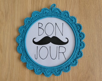 Frame in crochet - turquoise blue - with or without picture / frame - turquoise - with or without draw hook