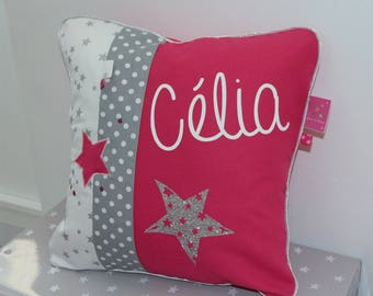 Cushion personalized Stardust in Fuchsia and grey 40 x 40 cm to order