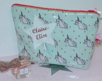 """Personalized toiletry bag in coated cotton """"unicorns"""" and matching Gold piping"""