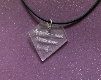 Women necklace with funny phrase - diamond - Princess-shaped pendant