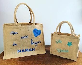 Burlap jute handbag tote bag size L burlap personalized super tend to customize
