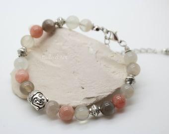 Bracelet multicolored moonstones and Buddha