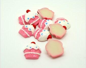 white cream pink cupcake resin 10 cabochons