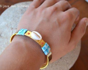 Adjustable bracelet Golden shell and Navy liberty