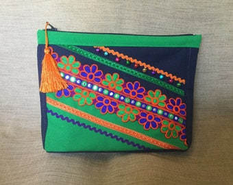 Ethnic clutch, blue and green and Indian fabric.