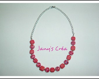 Dark synthetic beads and polymer clay rose necklace