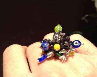 big fashion ring in various beads multicolor fashion