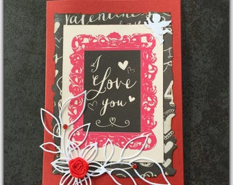 Valentine's Day card and envelope, I love you, red, my love