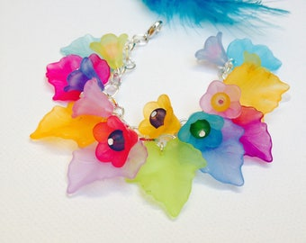 Colorful and cheerful flowers and charms leaf frosted multicolored bracelet