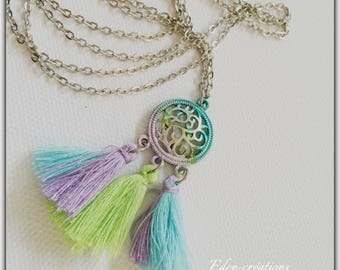 Long tassel necklace silver, colorful, Gypsy, boho necklace