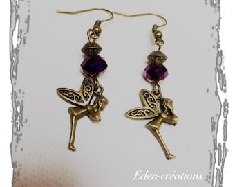 Bronze earrings fairy vintage plum Crystal bead earrings