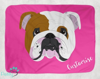 English Bulldog Dog Customisable Pet Blanket