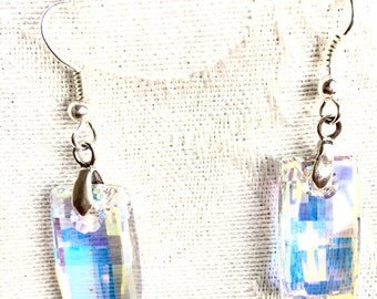 Earrings with Swarovski® Crystals, Aurora Borealis Urban, Stunning Sparkle, Bridal/Prom Dress, Christmas/New Year's Eve Bling