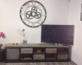 Cabinet TV steel and wood 4 drawer 1 door steel