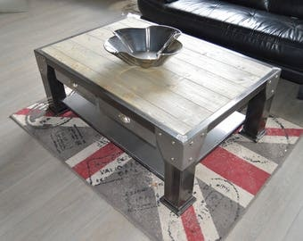 Industrial coffee table 4 drawer steel gray solid pine top