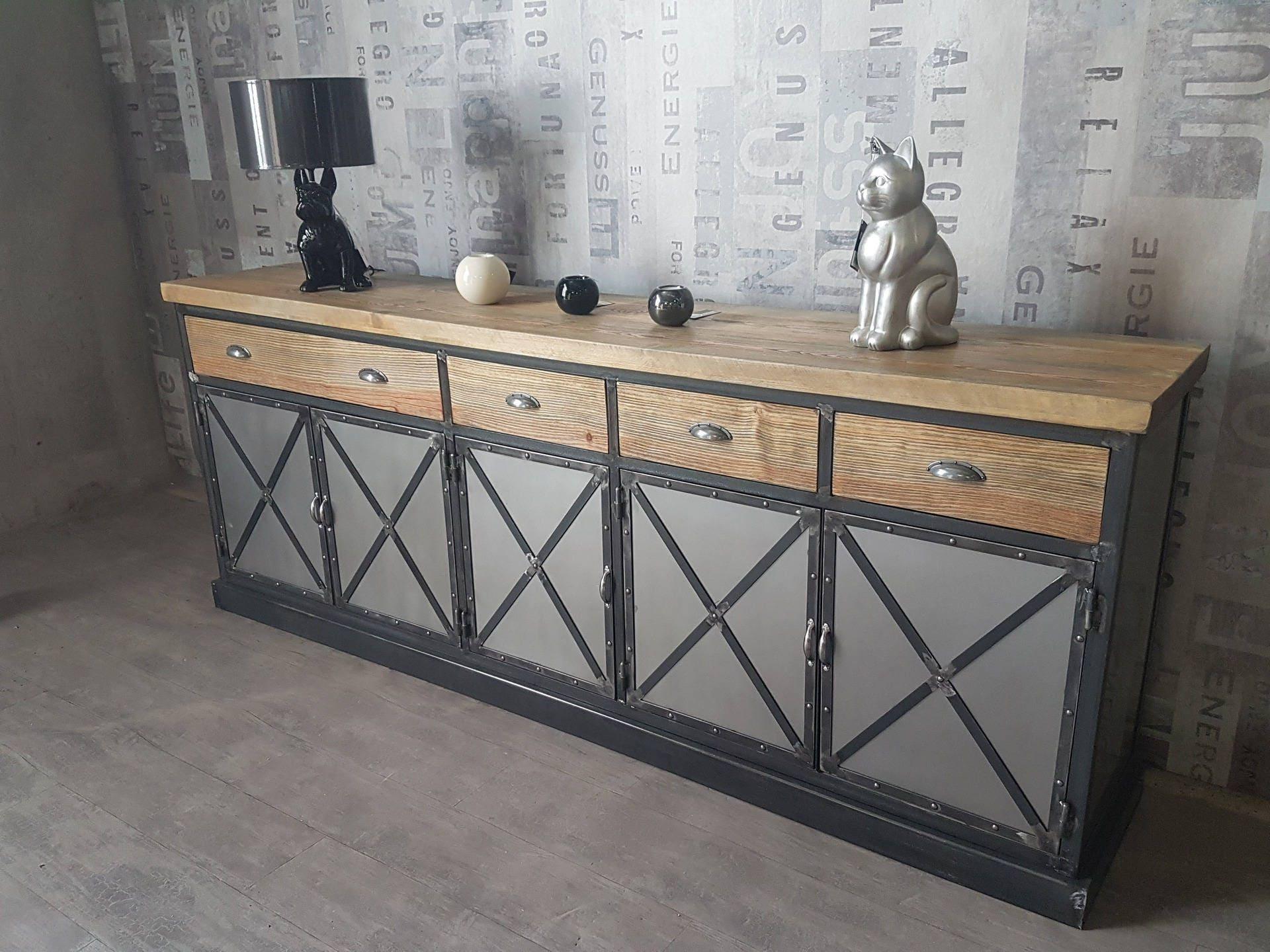 buffet industriel 5 portes acier plateau en pin massif vieilli. Black Bedroom Furniture Sets. Home Design Ideas
