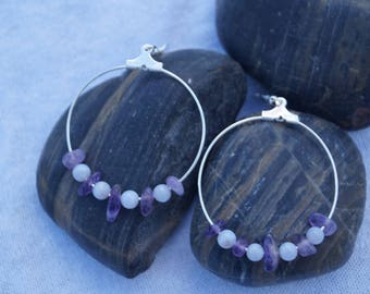 Earrings pierced large semi precious beads rings