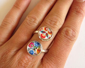 Double floral cabochon silver ring